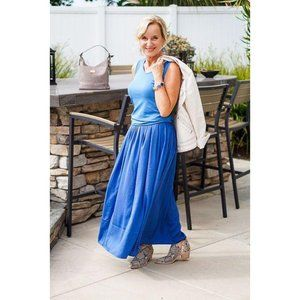 NWT Chico's Blue Pleated Maxi Skirt Size 3